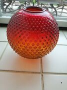 Vintage Hobnail Red Amberina Glass Hurricane Gone With The Wind Oil Lamp Shade