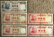 Taiwan 5 Old Banknotes. 1000 2 X 500 2 X 100. 2200 Dollars In Total. Twd
