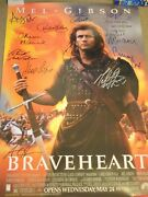 Awesome Braveheart Signed Movie Poster 11 Sigs W/ Mcgoohan, Wallace, Gibson
