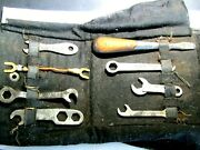 Antique Motorcycle Tool Kit In Leather Case For Bosch For Splitdorf Etc