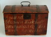1850and039s Americana Hand Painted Trunk Iron Bound With Script Norwegian