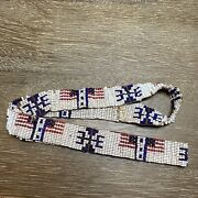 Vintage 22andrdquo Beaded With White Red Blue Seed Bead Flag Motif Hat Band