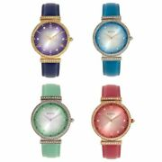 Bertha Allison Womenand039s Crystal Bezel And Leather Band Watch