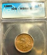 1885 Indian Cent Ms66rd Icg
