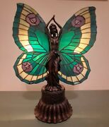 Butterfly Lady Accent Lamp With Stained Art Wings Mahogany Bronze Finish 16 In