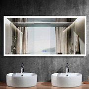 Hyh 84x40 In Large Led Lighted Bathroom Wall Mounted Mirror With High +dimmer