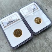 Pair Of 1958 1 Pound And 1/2 Pound South Africa Gold Coin - Ngc Proof 66 + 65