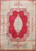 Antique Vegetable Dye Traditional Area Rug Medallion Hand-knotted 10x12 Carpet