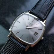 Mens Piaget 33mm 18k Solid White Gold 1980s Date Automatic Watch Swiss Lv866