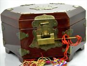 H705 Vintage Asian Hexagon Wood Jewelry Box With Lock And Key