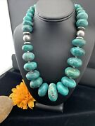 Mens Xlnavajo Pearl Grad Sterling Silver Natural Blue Turquoise Necklace01744