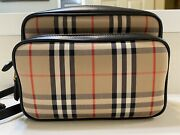 New Medium Vintage Check And Leather Camera Bag