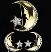 Mb Boucher Sterling Man In The Moon With Star Pin And Screwback Earrings Set