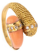 Mauboussin 1960 Paris Toi Et Moi Ring In 18 Kt Gold With Diamonds And Coral Rare
