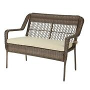 Outdoor Patio Loveseat With Putty Tan Cushions Steel Frame Polypropylene Brown