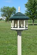Large Gazebo Poly Bird Feeder Amish Handmade 10qt Deluxe Tube Ivory And Green