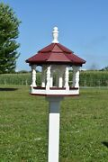 Large Gazebo Poly Bird Feeder Amish Handmade 10qt Deluxe Tube Ivory And Red