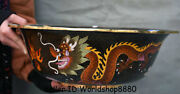 15.2 Old Chinese Cloisonne Enamel Dynasty Palace Dragon Bowl Basin Water Vessel
