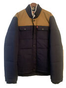 Mens Ultra Loft Insulated Faux Sherpa Trim Jacket Blue Brown Size Med Nwt