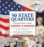 50 State Commemorative Quarters Collectors Map Book Album For Coin Collection