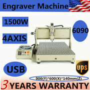 Cnc 4axis Router 6090 Engraver Usb Drill Mill Machine Metal Wood 3d Cutter 1.5kw