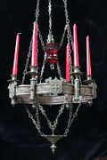 Antique French Bronze Church Sanctuary Altar Chandelier Lamp Candle Holder