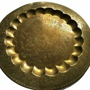 """Solid Brass Tray 17"""" Round Scalloped Floral Engraved Vtg Wall Hang Tabletop"""
