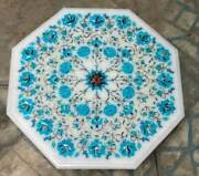 2and039x2and039 White Marble Table Top Coffee Center Inlay Malachite Handmade Lapis W123