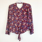 Madewell Bell Sleeve Tie Front Open Back Blouse Antique Flora Small
