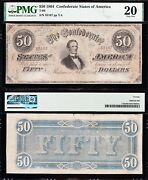Very Nice Bold Vf T-66 1864 50 Confederate Csa Note Pmg 20 Free Ship 55167