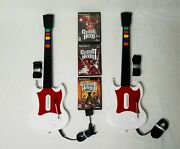 Playstation 2 Guitar Hero 3 Games 2 White Sg Guitars W/ Straps Bundle Ps2 Tested