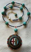 Vintage Handmade  One Of A Kind Necklace, Alfa-romeo Milano Front Grill Badge
