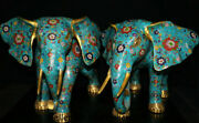 19.6old China Cloisonne Enamel Copper Feng Shui Elephant Auspicious Statue Pair