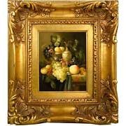 Vintage Still Life Oil On Board Grapes Peach Carafe Painting In Gilt Frame Signe
