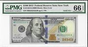 2013 100 Frn New York Pmg 66 Epq Solid Serial Number Mb22222222b