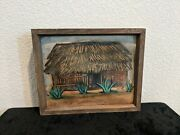 Irene Clark Oil On Board Painting Of A Straw Hut Framed Without Glass