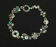 Patricia Locke Silver Plate 7 5 Bracelet Water Lily Crystals Nwot
