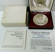 1973 Bahamas 10 Independence Day Proof Sterling Silver Coin 48.5 Gr