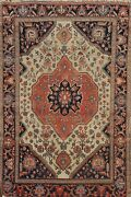 Antique Pre-1900 Traditional Vegetable Dye Hand-knotted Ivory Wool Area Rug 4x5