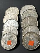 Ww2 Third Reich 2 Reichsmark 1937 Different Letters - You Buy 10 Coin´s