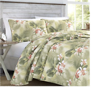 Tommy Bahama Bedding Tropical Orchid Cotton Coverlet Quilt Set/king Reversible