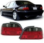 Clear Glass Led Taillights Red Black For Bmw 7er E38 98-01