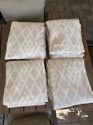 """Set 4 Custom Made Pinch Pleat Lined Heavy Linen Drapes Each 48""""x122"""" Taupe Cream"""