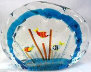 Murano Glass Aquarium W/ Fish Paperweight Limited Ed S. Frattini Really Cool