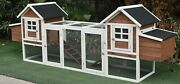 123 Large Solid Wood Chicken Coop Hen House 4-6 Chickens With 4 Nesting Boxes