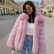 Womenand039s Fur Jacket Natural Fox Fur Coat With Collar Winter Thick Fur Outwear