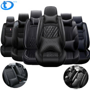 5 Seats Car Seat Covers Luxury Black Pu Leather Full Set With Pillow Universal