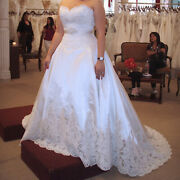 Eve Of Milady Antique White Lace And Satin Princess Wedding Dress -new Unaltered