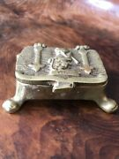 Small 19th Century Solid Brass Cat Trinket Box With Legs - Snuff - Stamps C1890