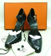 Hermes Crocodile Leather Ankle Strap Round Toe Pump Heels 4 Size-39/8.5